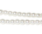 6mm Round White Glass Pearl Bead, approx 78 beads