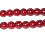 8mm Round Red Glass Pearl Bead, approx. 56 beads