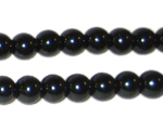 8mm Round Black Glass Pearl Bead, approx. 56 beads