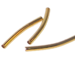 25 x 2.5mm Gold Brass Curved Tube - approx. 30 tubes