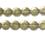 "12mm Silver Transparent Pressed Glass Bead, 14"" string"